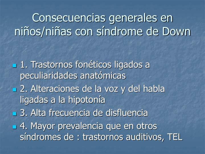 Consecuencias generales en niños/niñas con síndrome de Down