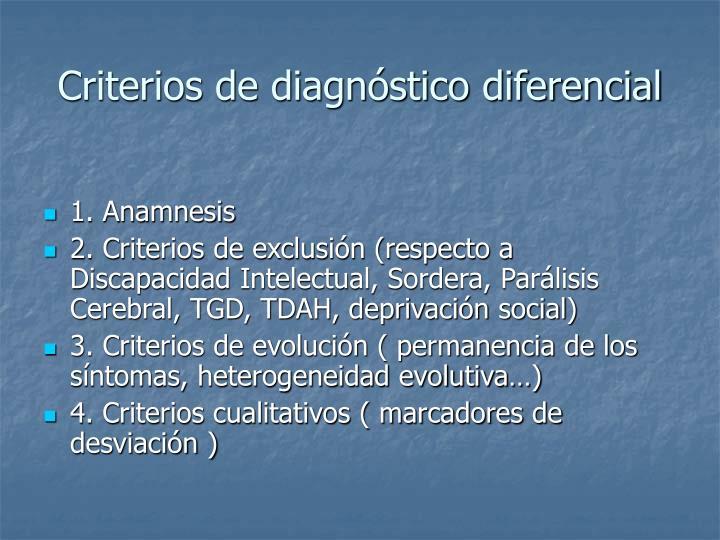 Criterios de diagnóstico diferencial