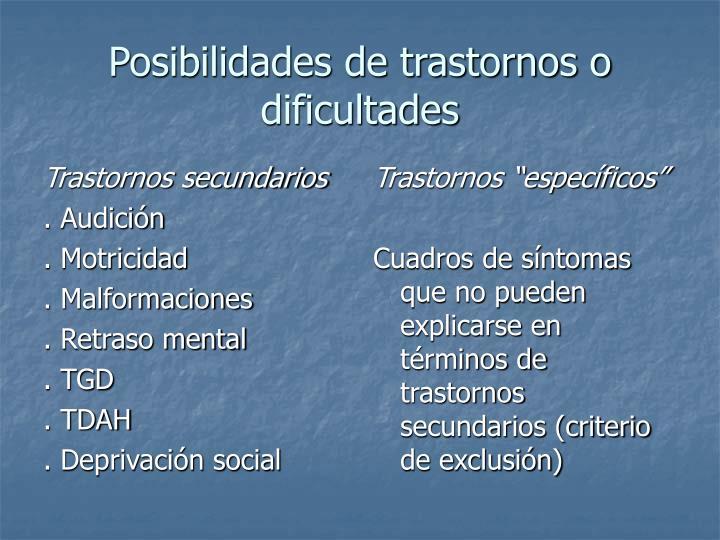 Trastornos secundarios