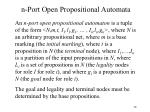 n port open propositional automata