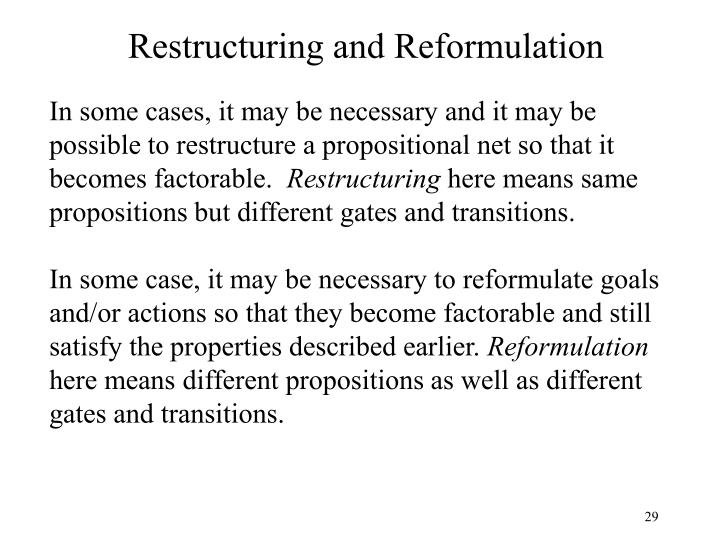 Restructuring and Reformulation