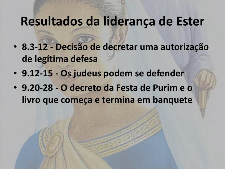 Resultados da liderança de Ester