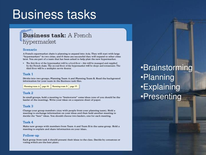 Business tasks