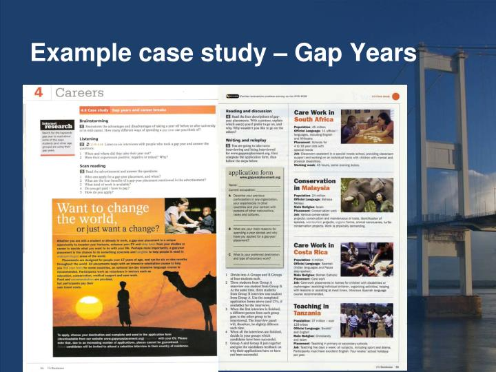 Example case study – Gap Years