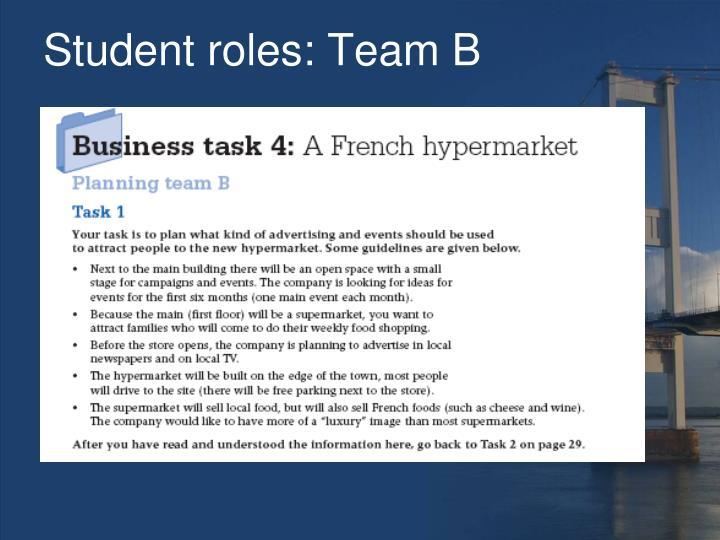 Student roles: Team B