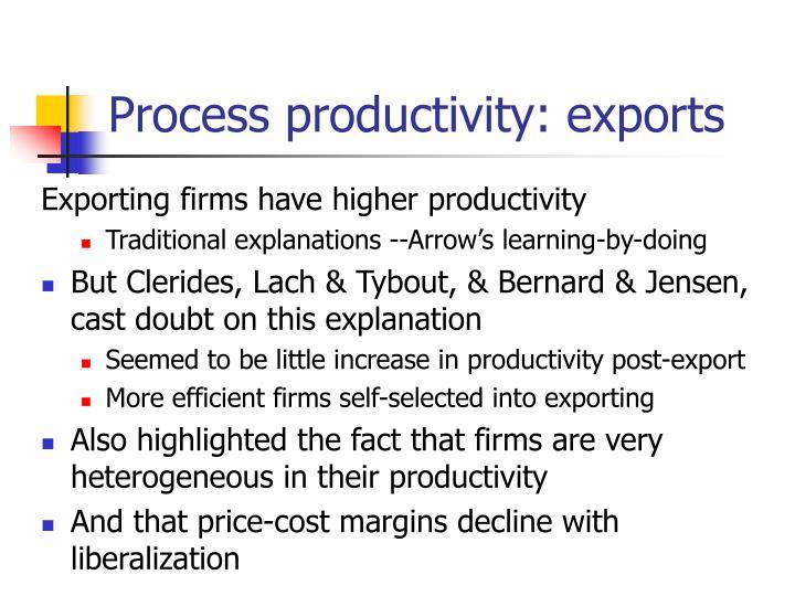 Process productivity: exports