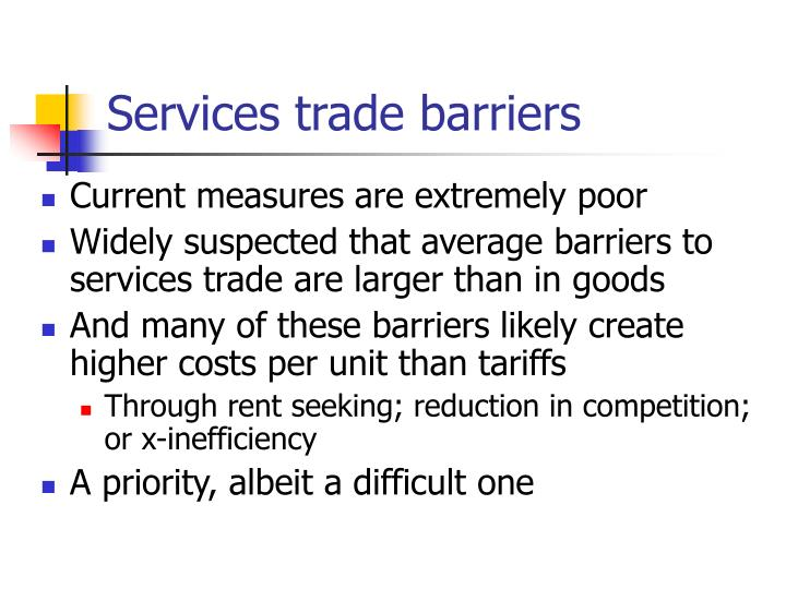 Services trade barriers