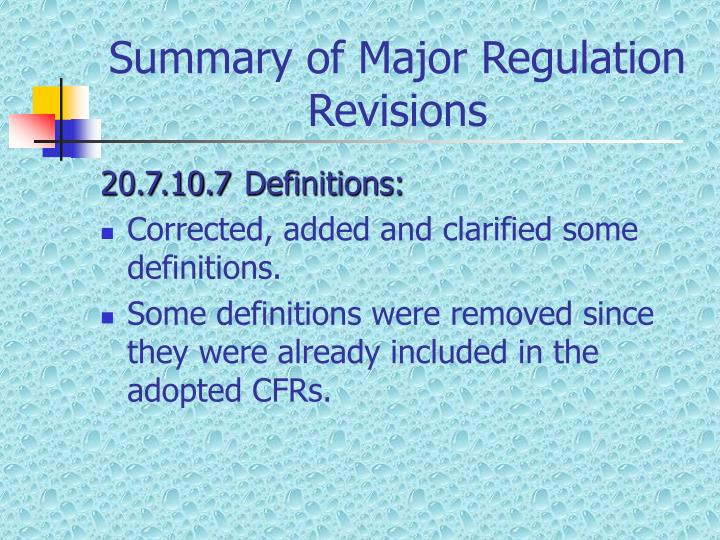 Summary of major regulation revisions