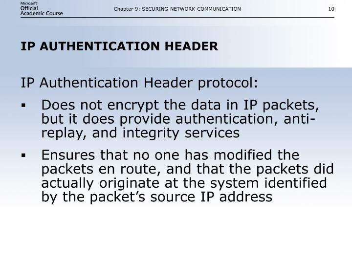 Chapter 9: SECURING NETWORK COMMUNICATION