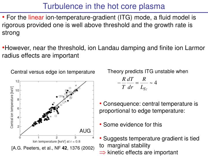 Turbulence in the hot core plasma