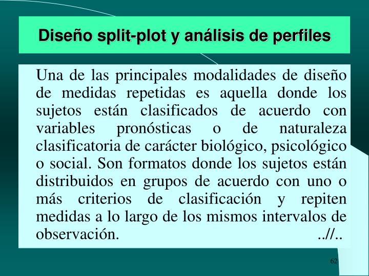 Diseño split-plot y análisis de perfiles