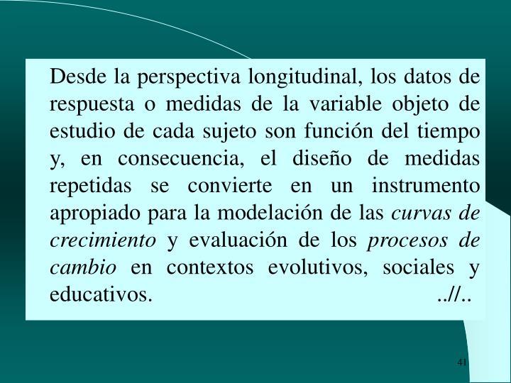 Desde la perspectiva longitudinal, los datos de respuesta o medidas de la variable objeto de estudio de cada sujeto son función del tiempo y, en consecuencia, el diseño de medidas repetidas se convierte en un instrumento apropiado para la modelación de las