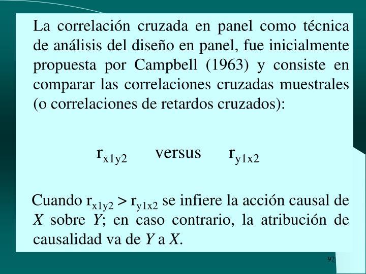 La correlación cruzada en panel como técnica de análisis del diseño en panel, fue inicialmente propuesta por Campbell (1963) y consiste en comparar las correlaciones cruzadas muestrales (o correlaciones de retardos cruzados):