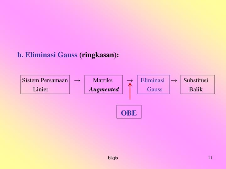 b. Eliminasi Gauss