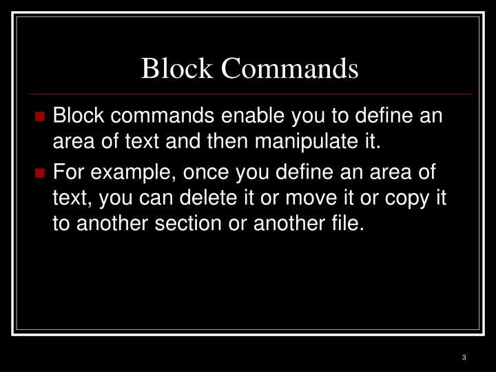 Block Commands