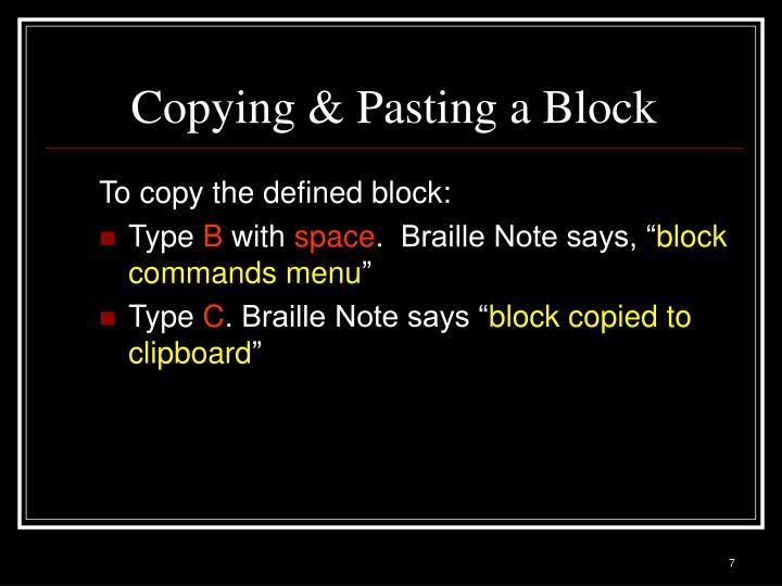 Copying & Pasting a Block