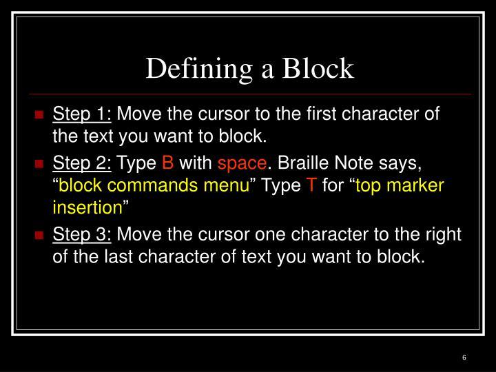 Defining a Block