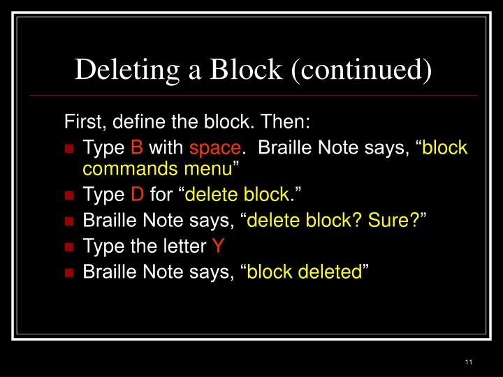 Deleting a Block (continued)