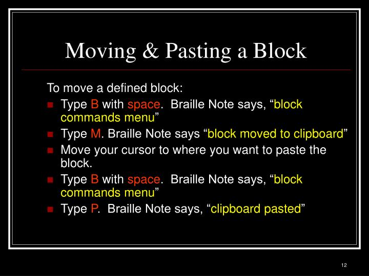 Moving & Pasting a Block
