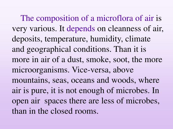 The composition of a microflora of air
