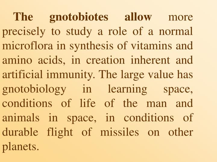 The gnotobiotes allow