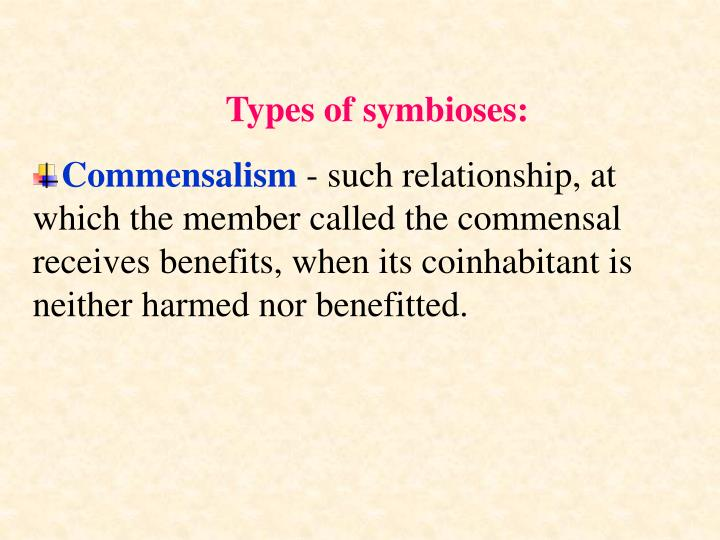 Types of symbioses: