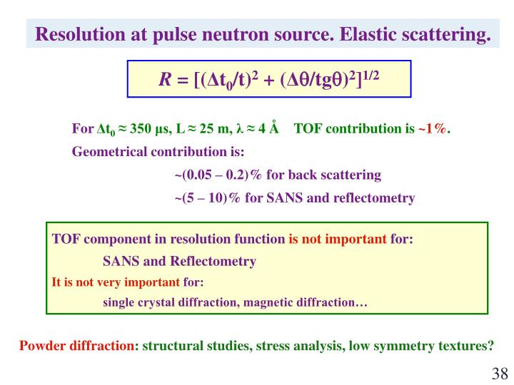 Resolution at pulse neutron source. Elastic scattering.