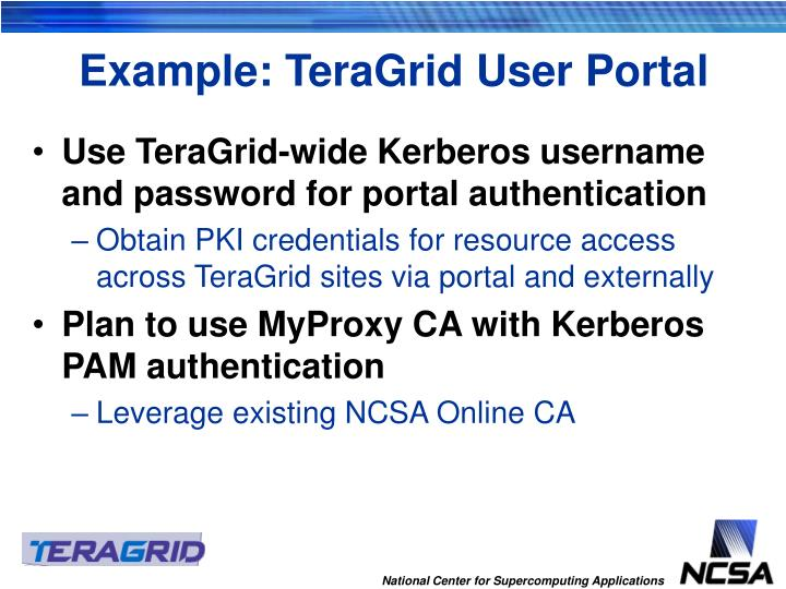 Example: TeraGrid User Portal