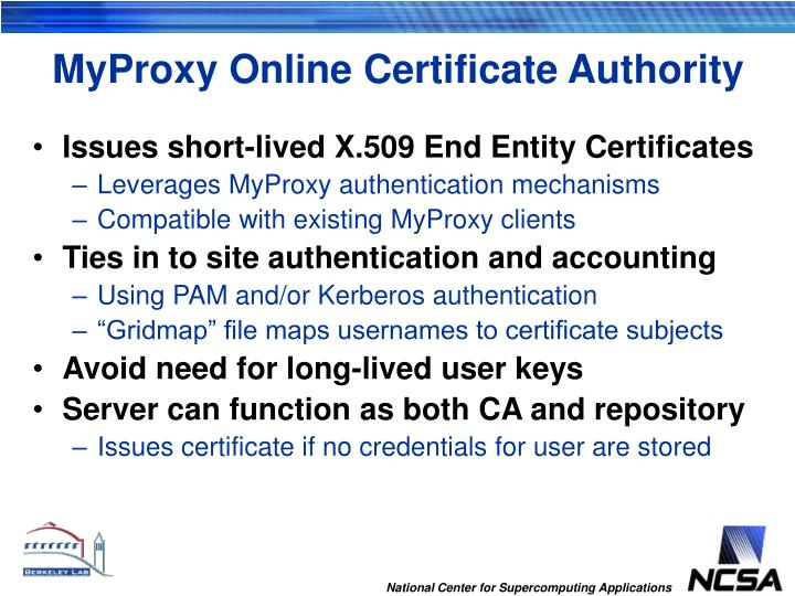 MyProxy Online Certificate Authority