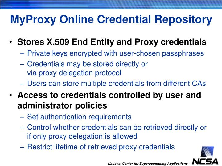 MyProxy Online Credential Repository