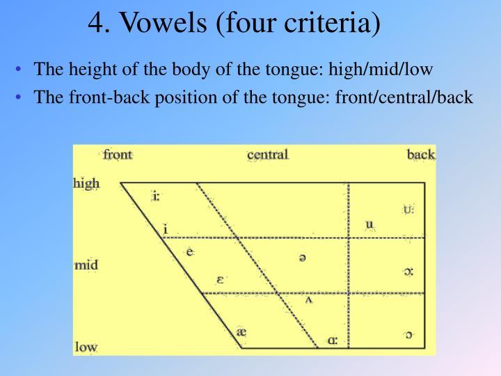 4. Vowels (four criteria)