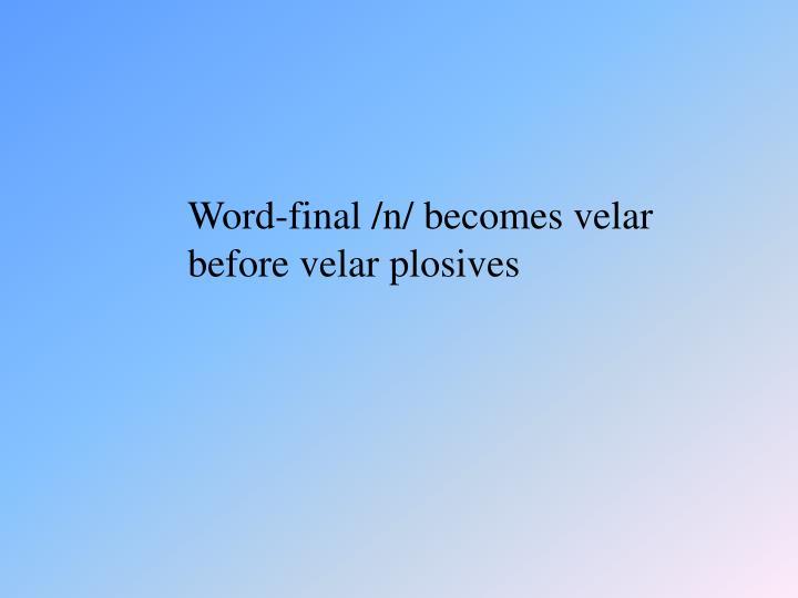 Word-final /n/ becomes velar before velar plosives