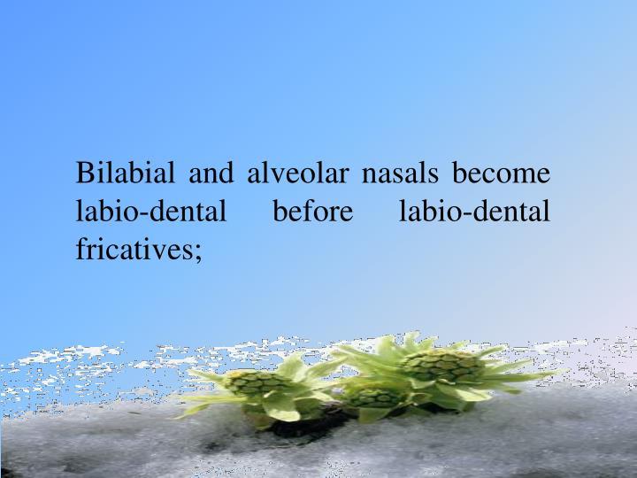 Bilabial and alveolar nasals become labio-dental before labio-dental fricatives;