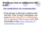 should you treat an isolated low hdl level