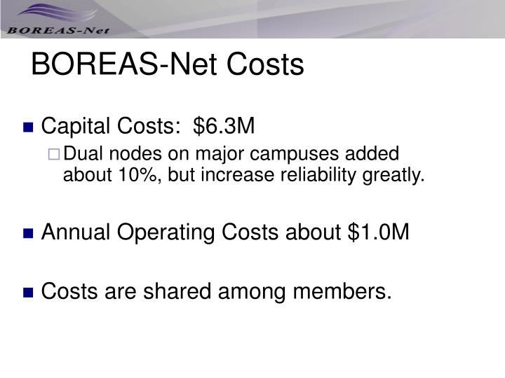 BOREAS-Net Costs