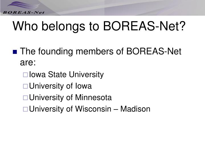 Who belongs to BOREAS-Net?