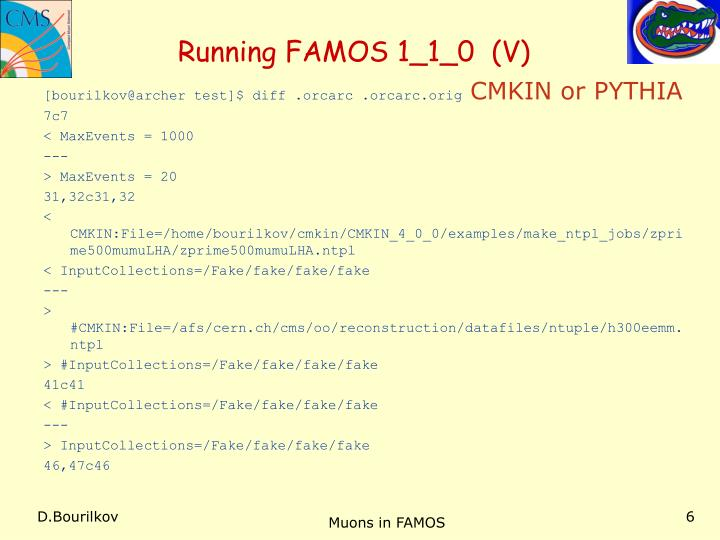 Running FAMOS 1_1_0  (V)