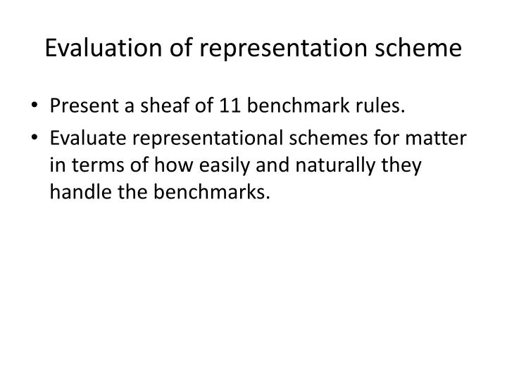 Evaluation of representation scheme