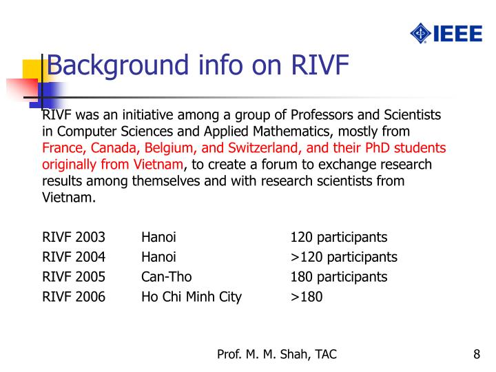 Background info on RIVF