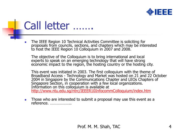 Call letter …….