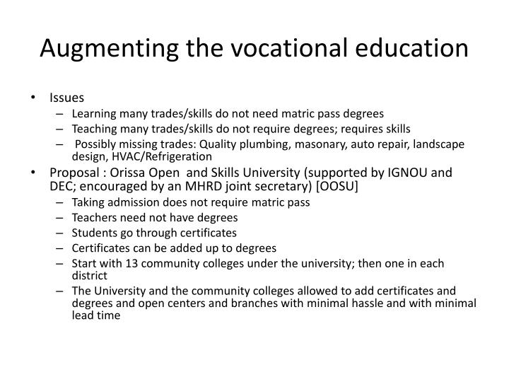 Augmenting the vocational education