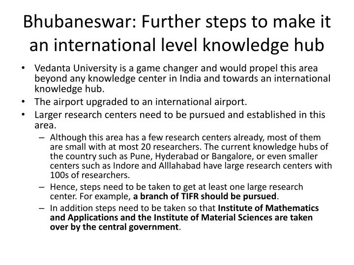 Bhubaneswar: Further steps to make it an international level knowledge hub