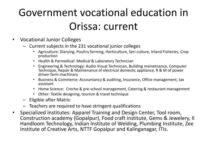 Government vocational education in Orissa: current