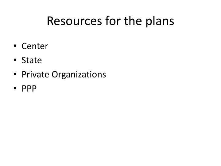 Resources for the plans