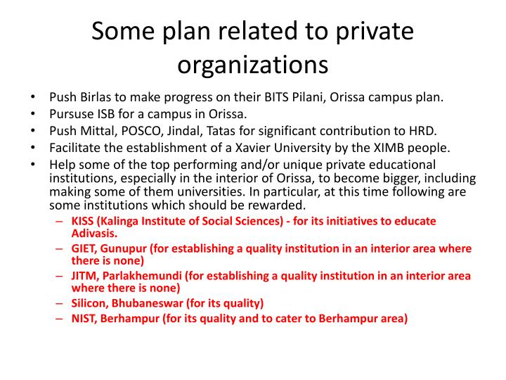 Some plan related to private organizations