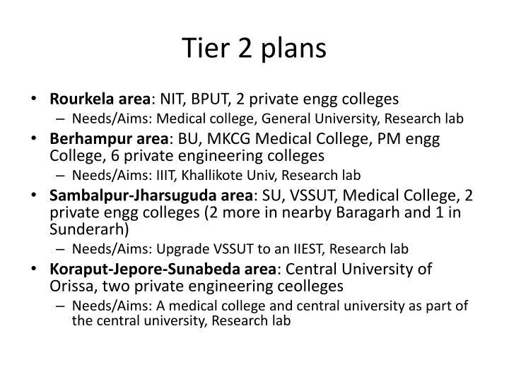 Tier 2 plans