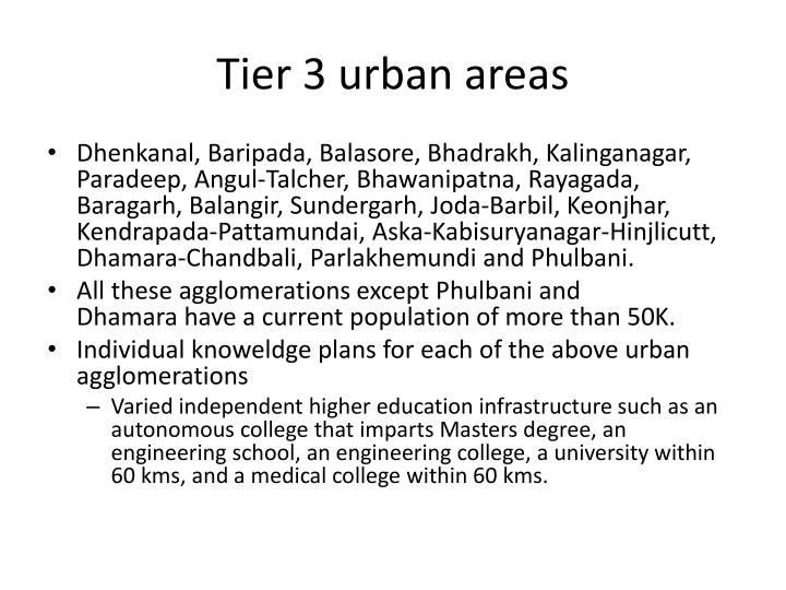 Tier 3 urban areas