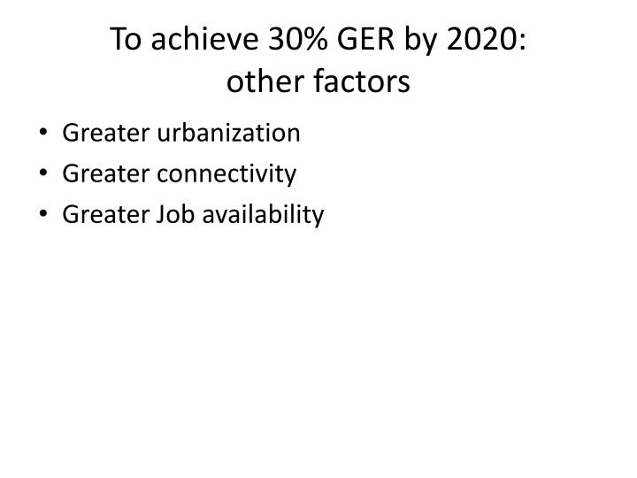 To achieve 30% GER by 2020: