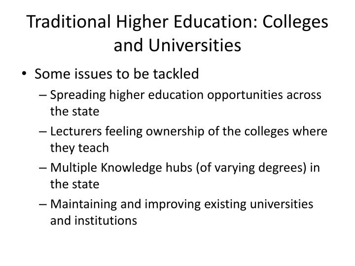 Traditional Higher Education: Colleges and Universities