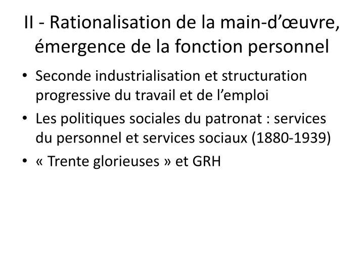 II - Rationalisation de la main-d'œuvre, émergence de la fonction personnel